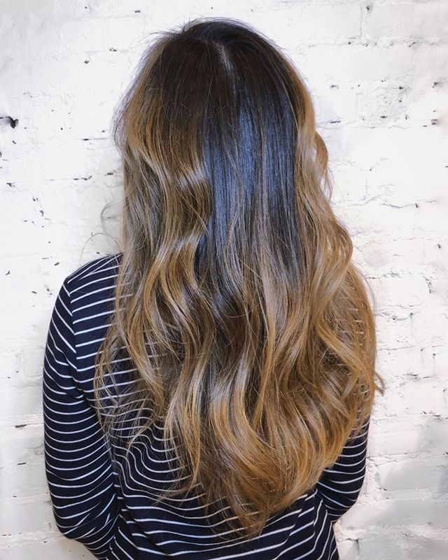 Caramel toned balayage on dark hair - - - #machorn #chlhairbymac #customhairlounge #chicagohairstylist #midwesthairstylist #chicagosalon #chicagohair #lincolnpark #linconlparkhair #lincolnparksalon #machorn #balayage #blonde #layers #bronde #brunette #longhair #chicagosalon #chicagohairstylist #brondebalayage #highlights #blondebalayage #wavyhair #colormelt #hairtrends #brondehair #moprofessional #crafthaircolor #blondehair #rootmelt