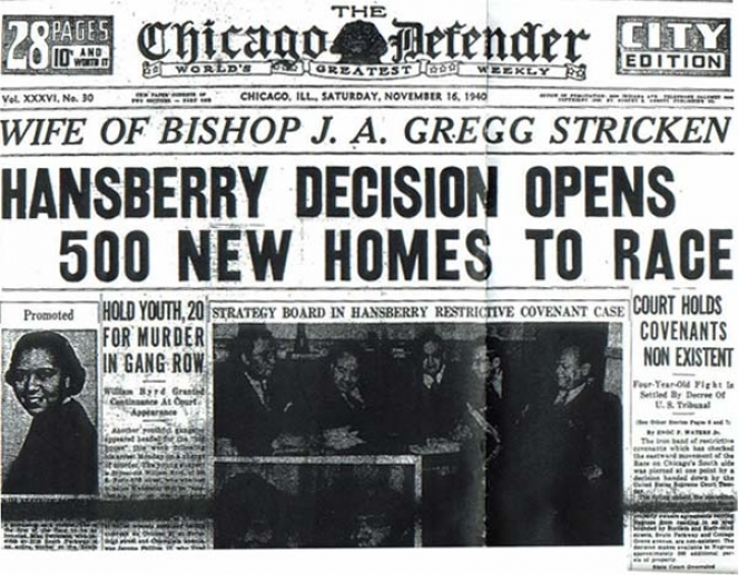 Cover of the November 16, 1940 City Edition of the Chicago Defender, announcing the Supreme Court's decision in Hansberry v. Lee