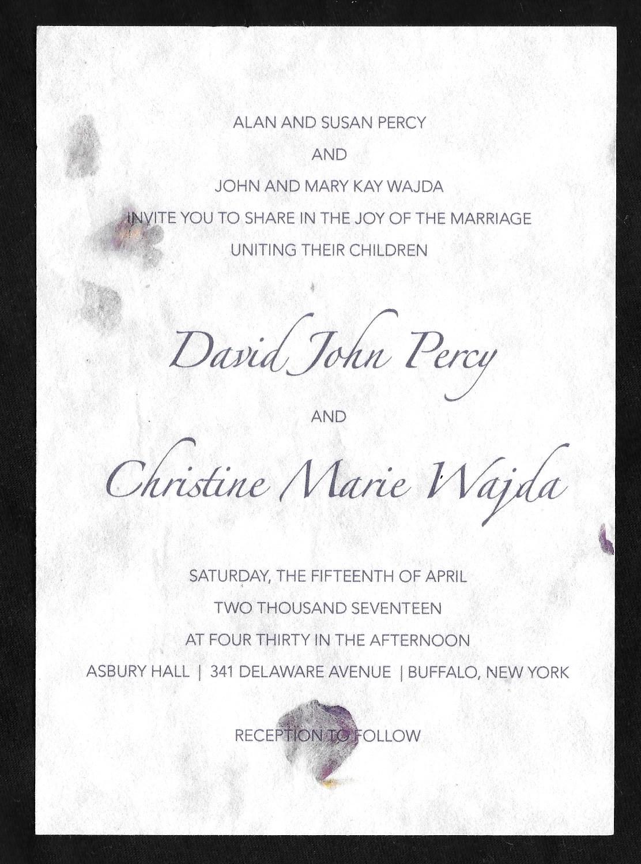 wedding invitations for David Percy & Christine Wajda