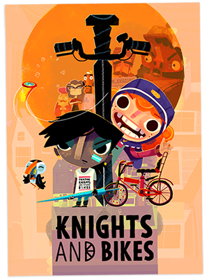 Ready to saddle-up?! - KNIGHTS AND BIKES is a hand-painted action-adventure for 1 or 2 players, set on a British island in the 1980s.It's a coming-of-age story starring Nessa & Demelza, exploring the coasts of Penfurzy on their trusty bikes, looking for a legendary lost treasure in a Goonies-inspired tale of excitement, danger, fun and friendship.