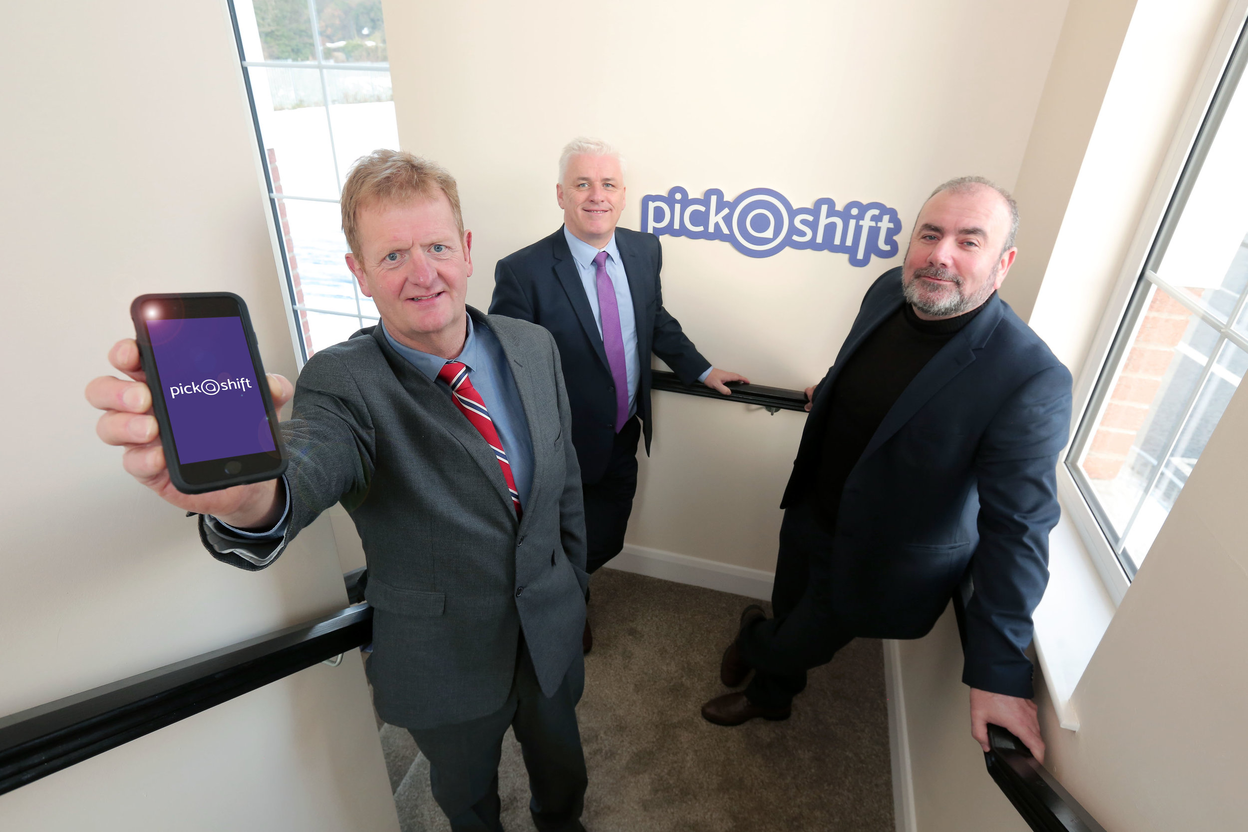 New NI developed 'PickaShift' App set to revolutionise care home staffing. Launching the new app are PickaShift founders, Peter Graham, Fearghal McKinney and Liam Lavery.