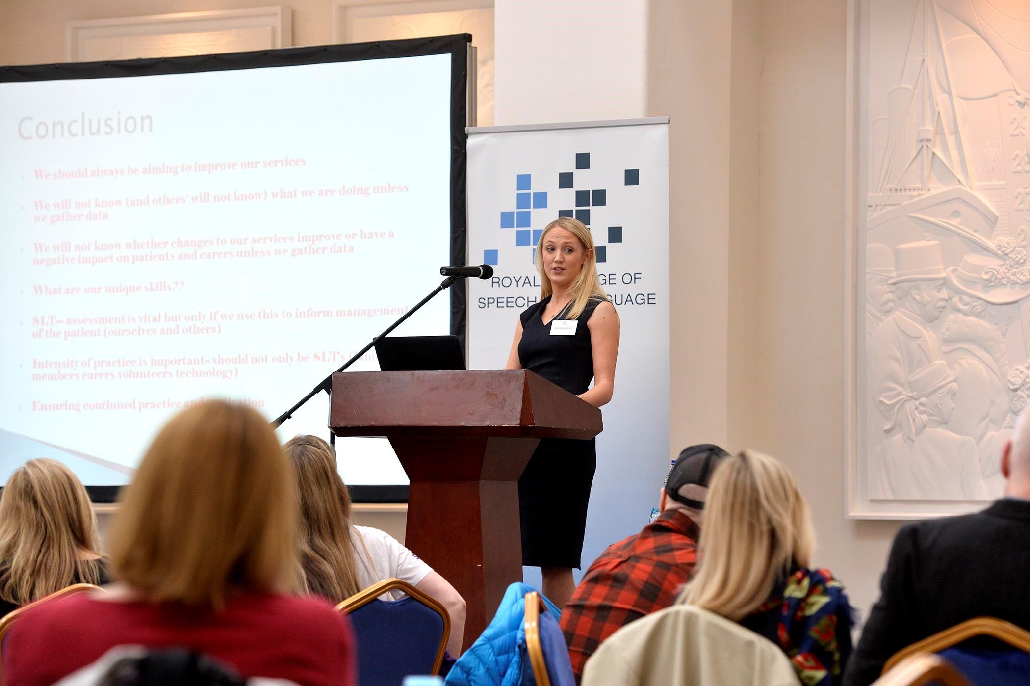 Speech & Language Therapist Jennifer Handforth at the RSCLT event in Belfast