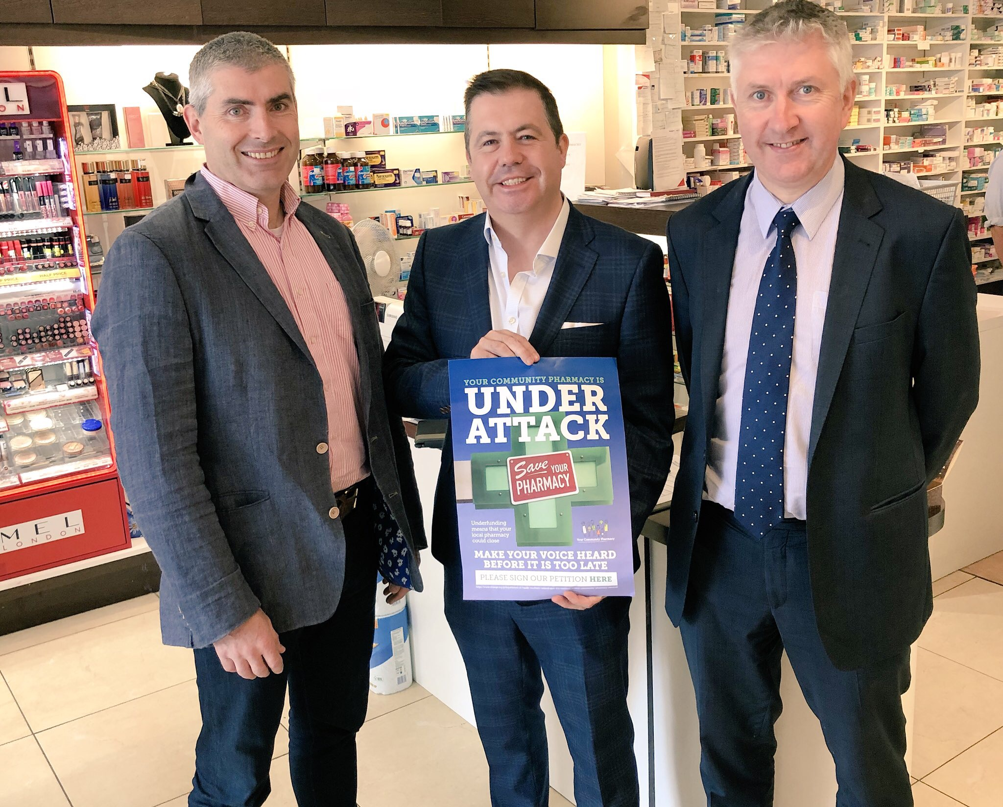 Photo (from L to R):  Paul Savage, Community Pharmacist; Glyn Roberts, Chief Executive, Retail NI; and Gerard Greene, Chief Executive, Community Pharmacy NI.