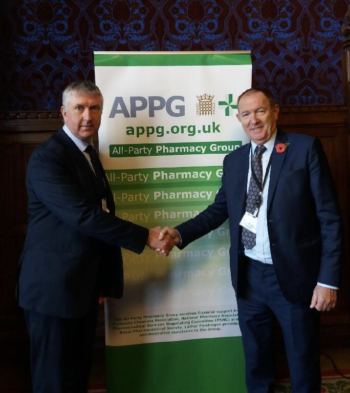 CPNI CEO Gerard Greene with Chair of Pharmacy APPG Sir Kevin Barron