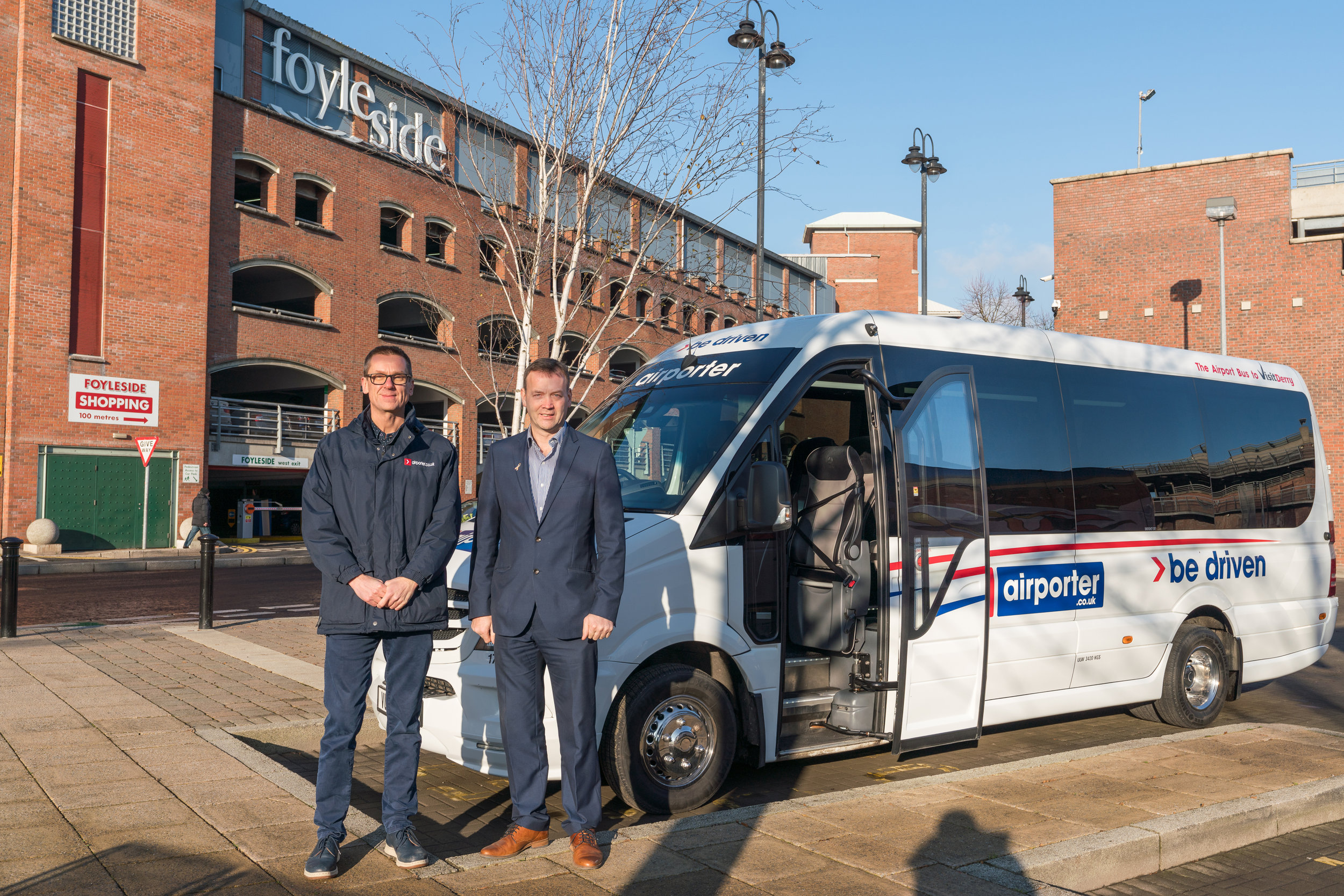 Niall McKeever, Director of Airporter and Fergal Rafferty, Foyleside Centre Manager at the Foyleside Coach park.