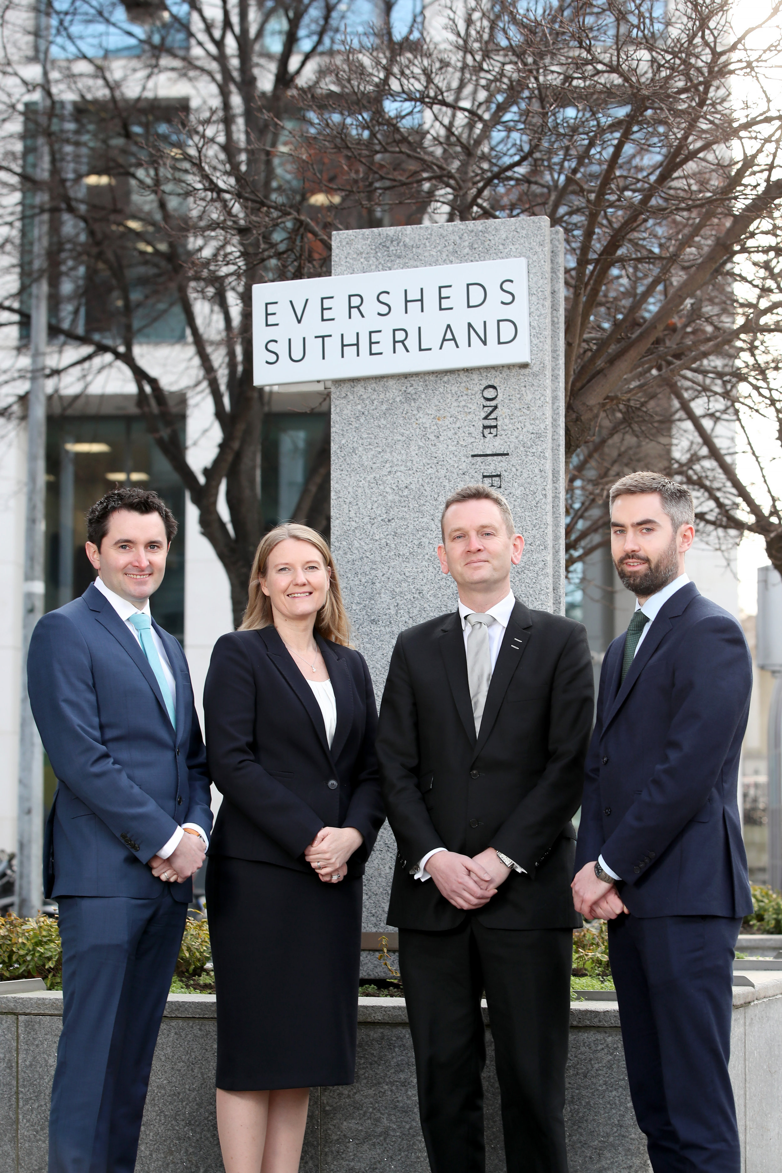From left to right:  Lorcan Keenan, Partner, Pensions (Dublin), Lisa Bryson, Partner, Employment & Immigration (Belfast), Alan Murphy, Managing Partner Eversheds Sutherland, Enda Cullivan, Partner, Corporate & Commercial (Dublin)