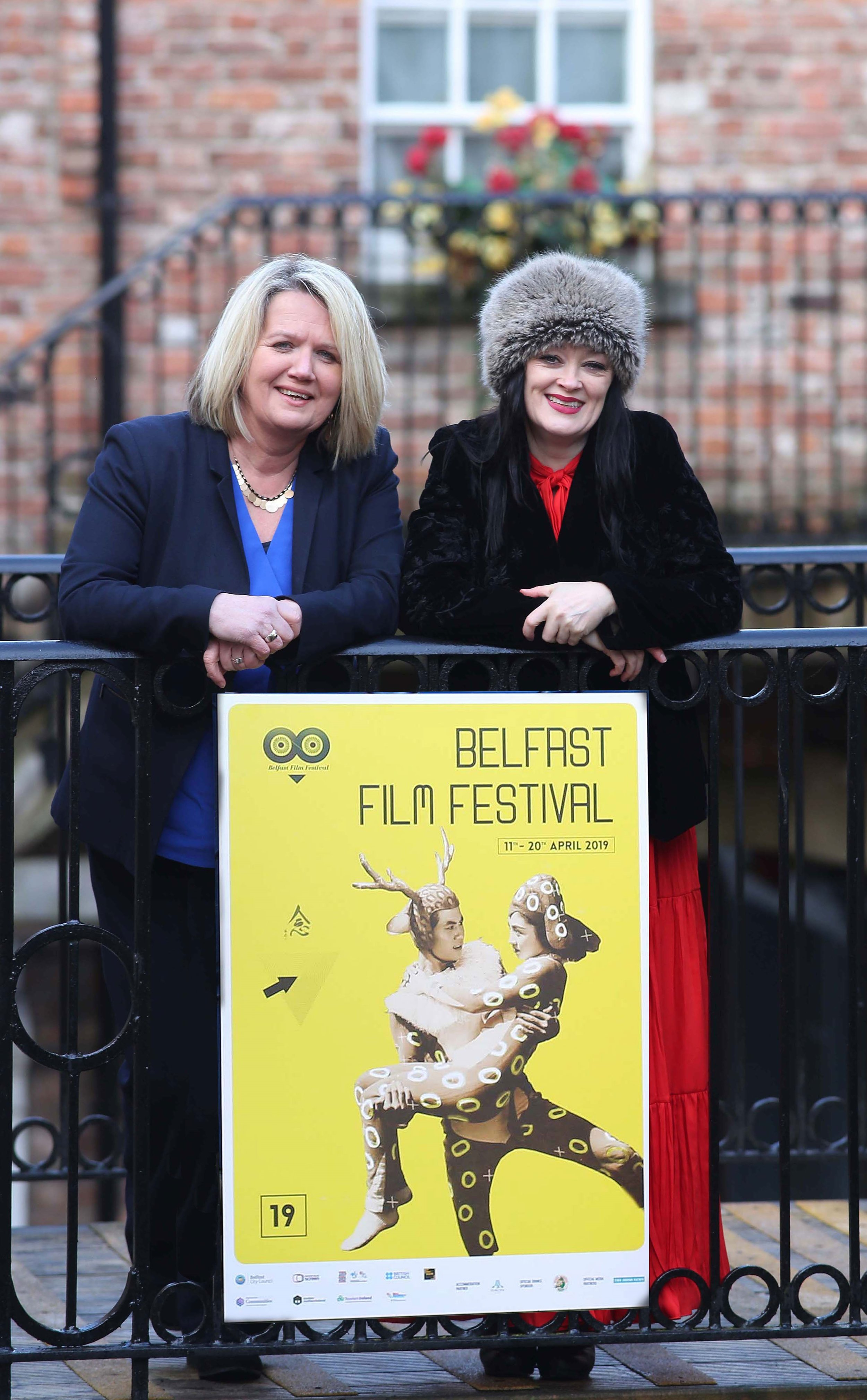 "Michele Devlin, Festival Director of the Belfast Film Festival with Derry-born actress Bronagh Gallagher, who stars in ""A Bump Along the Way"" which will be shown on the opening night of the 2019 Belfast Film Festival."