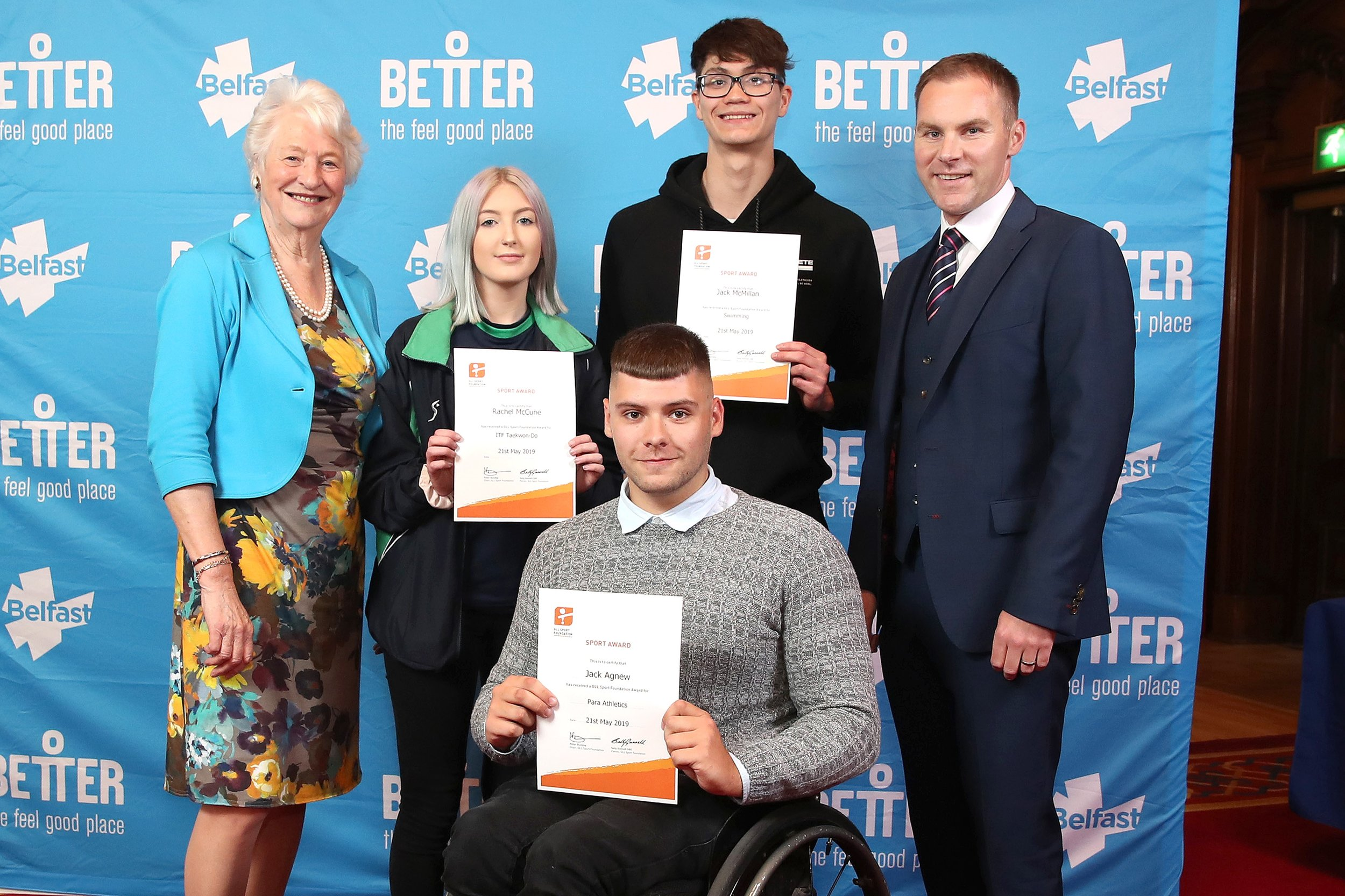 Lady Mary Peters, Rachel McCune, Jack McMillan, GLL Regional Director Gareth Kirk and Jack Agnew at the GLL Sport Foundation Awards at Belfast City Hall last night.