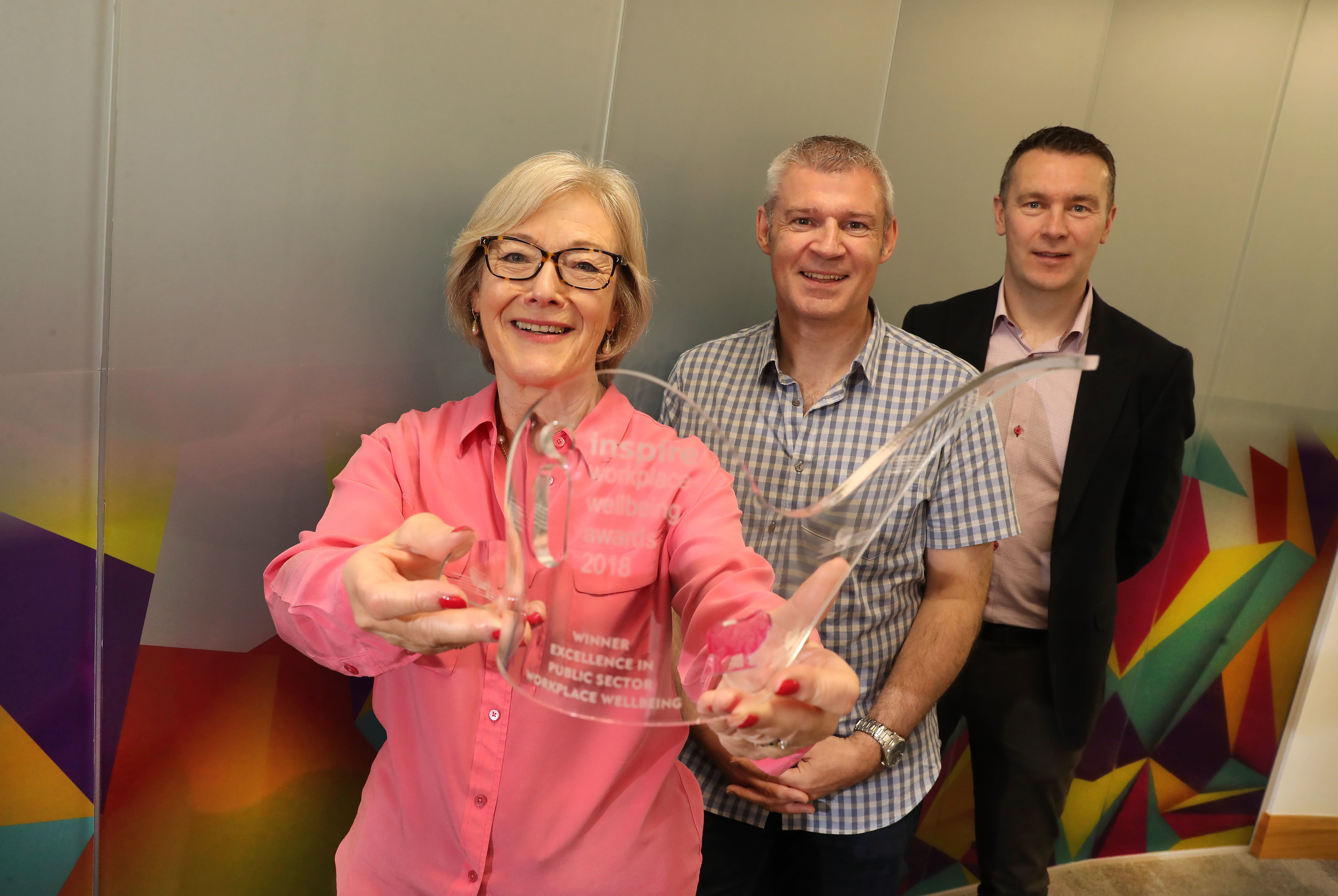 Broadcaster Wendy Austin teams up with Inspire's Director of Professional Services John Conaghan, and former GAA star Oisin McConville       to launch Inspire's Workplace Wellbeing Awards. The awards celebrate employers who champion resilience and wellbeing at work and will take place on Thursday 20 June at the Crowne Plaza Hotel.