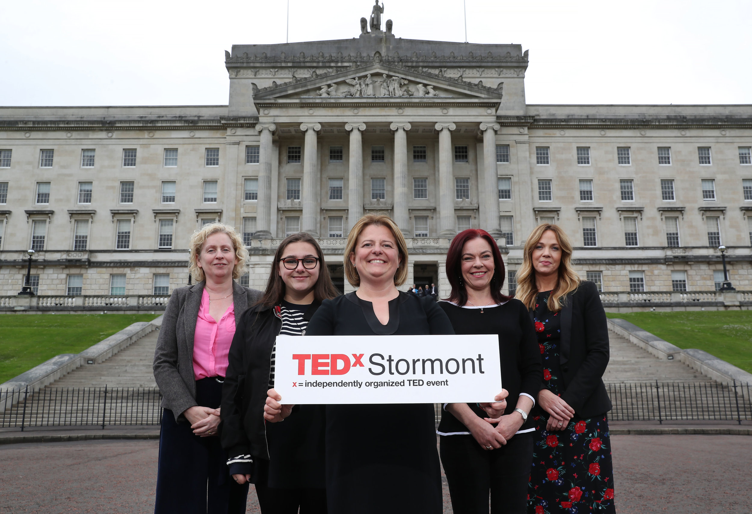 Talk like TED Pic 1:  (From left to Right): Siobhan Broderick, Urban Villages Initiative, Beth Vance, Urban Villages Participant, Eva Grosman, TEDxStormont Curator, Clare Bailey, MLA, Selina Wallace, Smarts