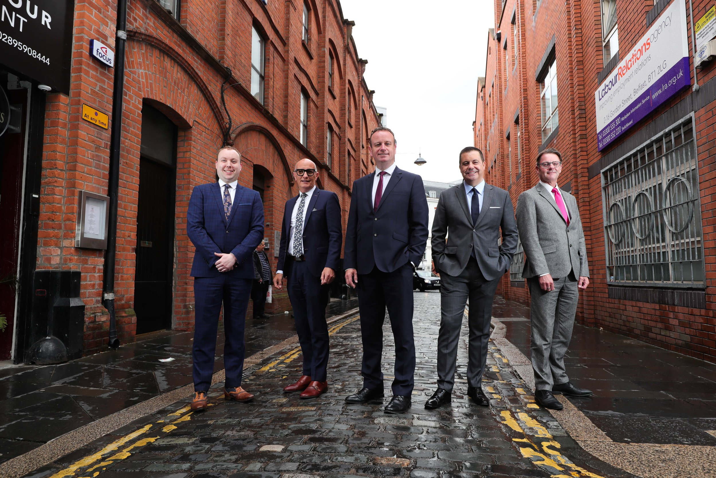 (Left to right) Conor Lambe, Chief Economist, Danske Bank (Sponsor), Colin Neill, Hospitality Ulster, Stephen Kelly, Manufacturing NI, Glyn Roberts, Retail NI, and Ken Harrower, Country Manager, Ireland Flybe (Sponsor).