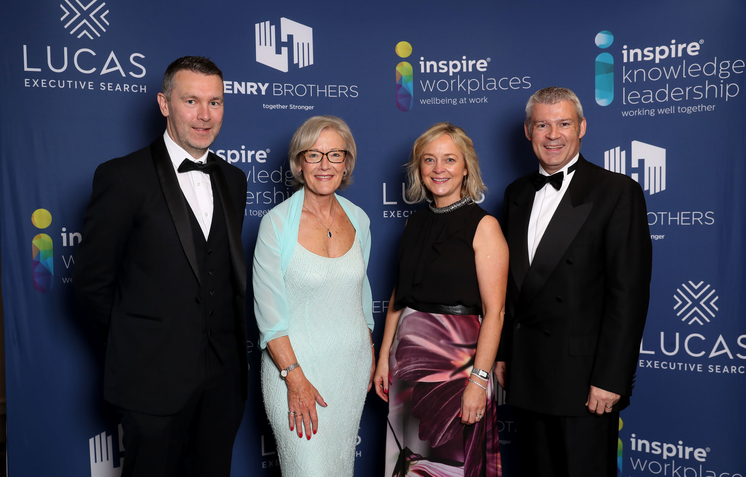 Presenters of the awards GAA Legend, Oisin McConville and former broadcaster Wendy Austin along with Chair of Inspire Finola O'Kane and Director of Professional Services, John Conaghan.