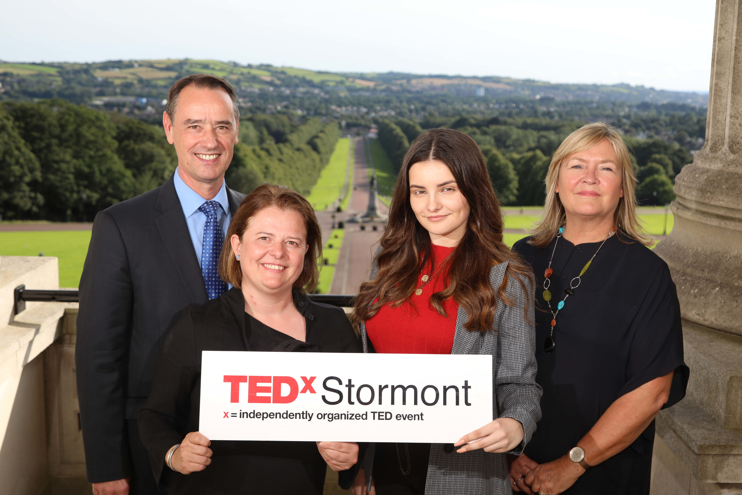 Winner of 'Talk like TED', Tegan Nesbitt with the judging panel, (Left to right) Mark Browne, The Executive Office, Eva Grosman, TEDxStormont Curator and Pippa Arlow, Smarts