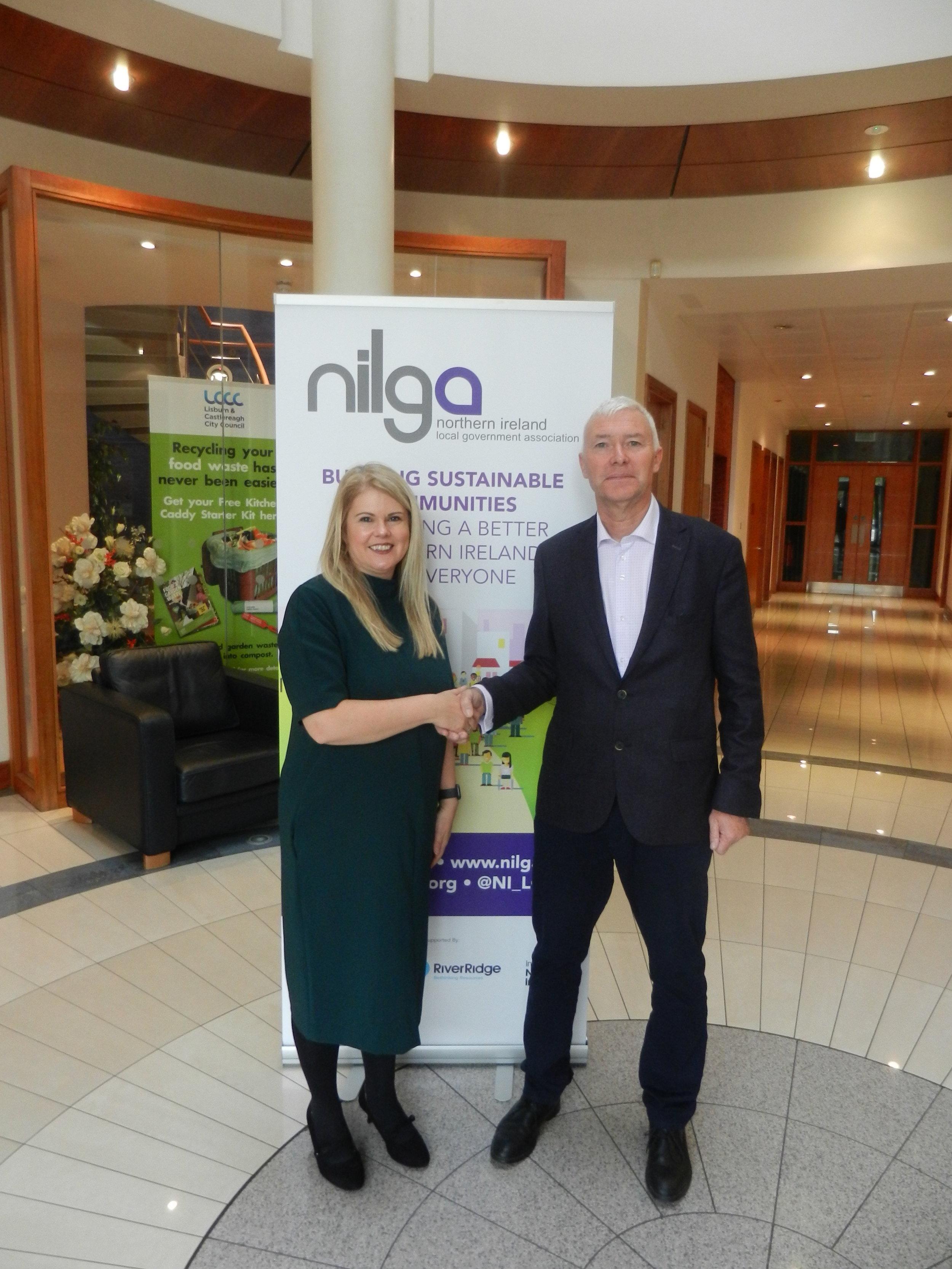 NILGA Chief Executive Derek McCallan with NI Water Chief Executive Sara Venning