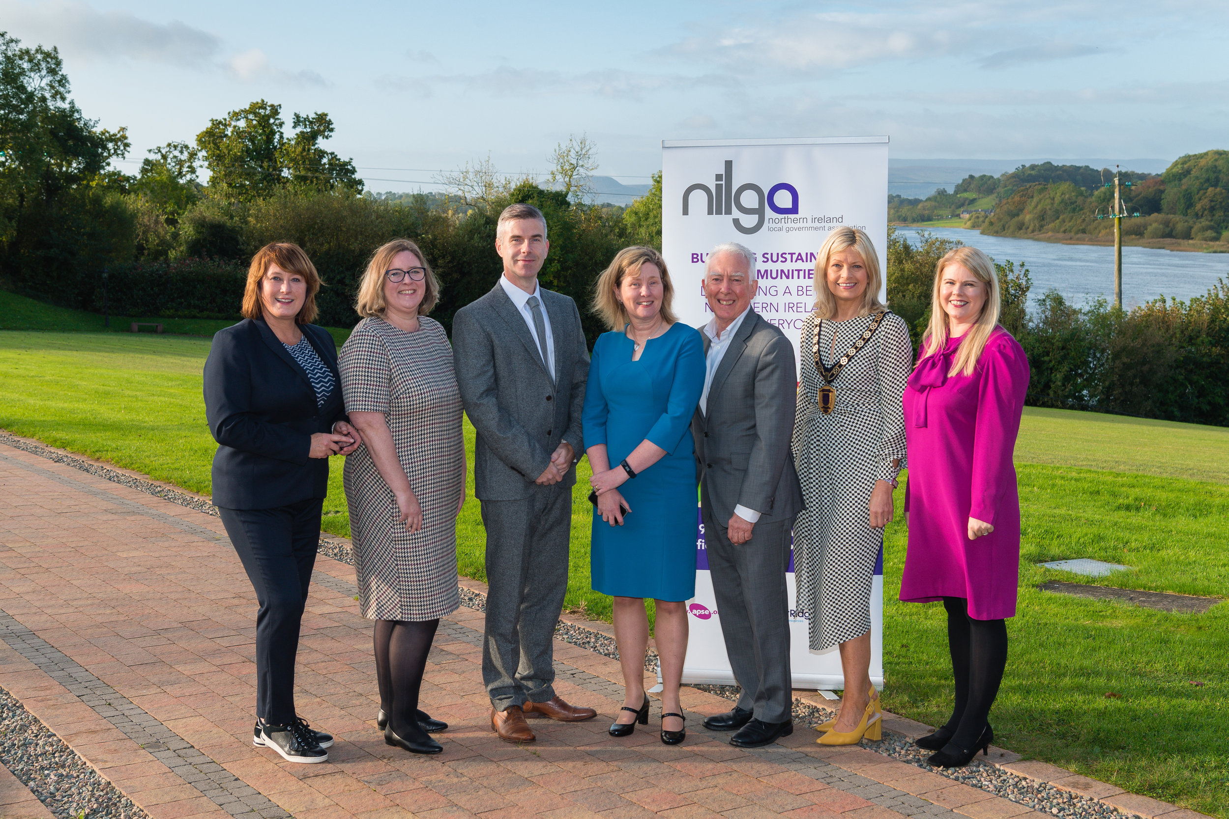 (Left to Right):   Host Yvette Shapiro, NILGA Head of Policy and Governance Karen Smyth, Cllr Steven Corr, Chair, NILGA Place Shaping and Infrastructure Network, Katrina Godfrey, Permanent Secretary, Department for Infrastructure, Prof Robin Hambleton, University of the West of England, Cllr Diana Armstrong, Vice-Chair, Fermanagh and Omagh District Council and Sara Venning, CEO, NI Water