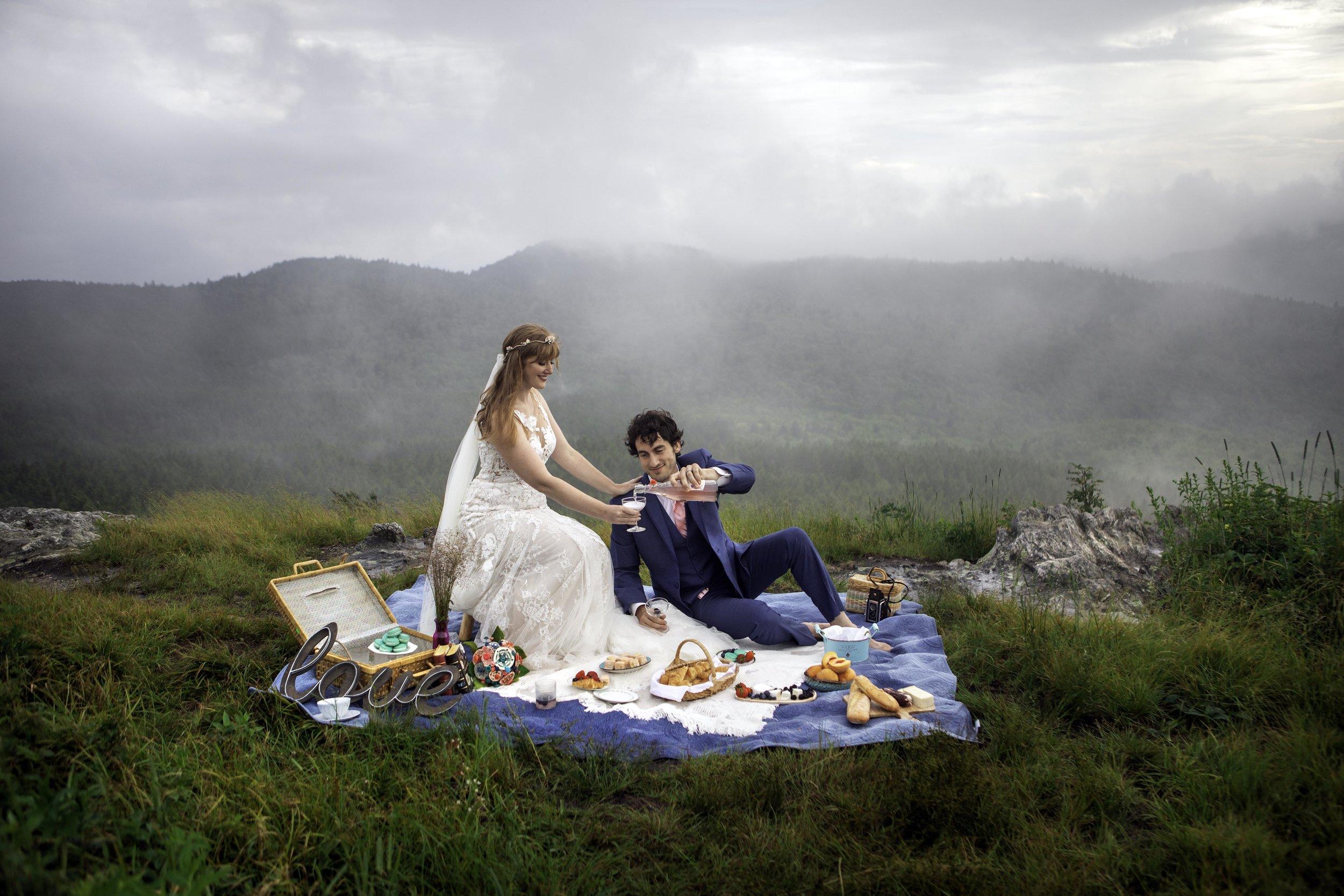 Blue Ridge Mountain Top Elopement With Romantic Picnic- July 2019