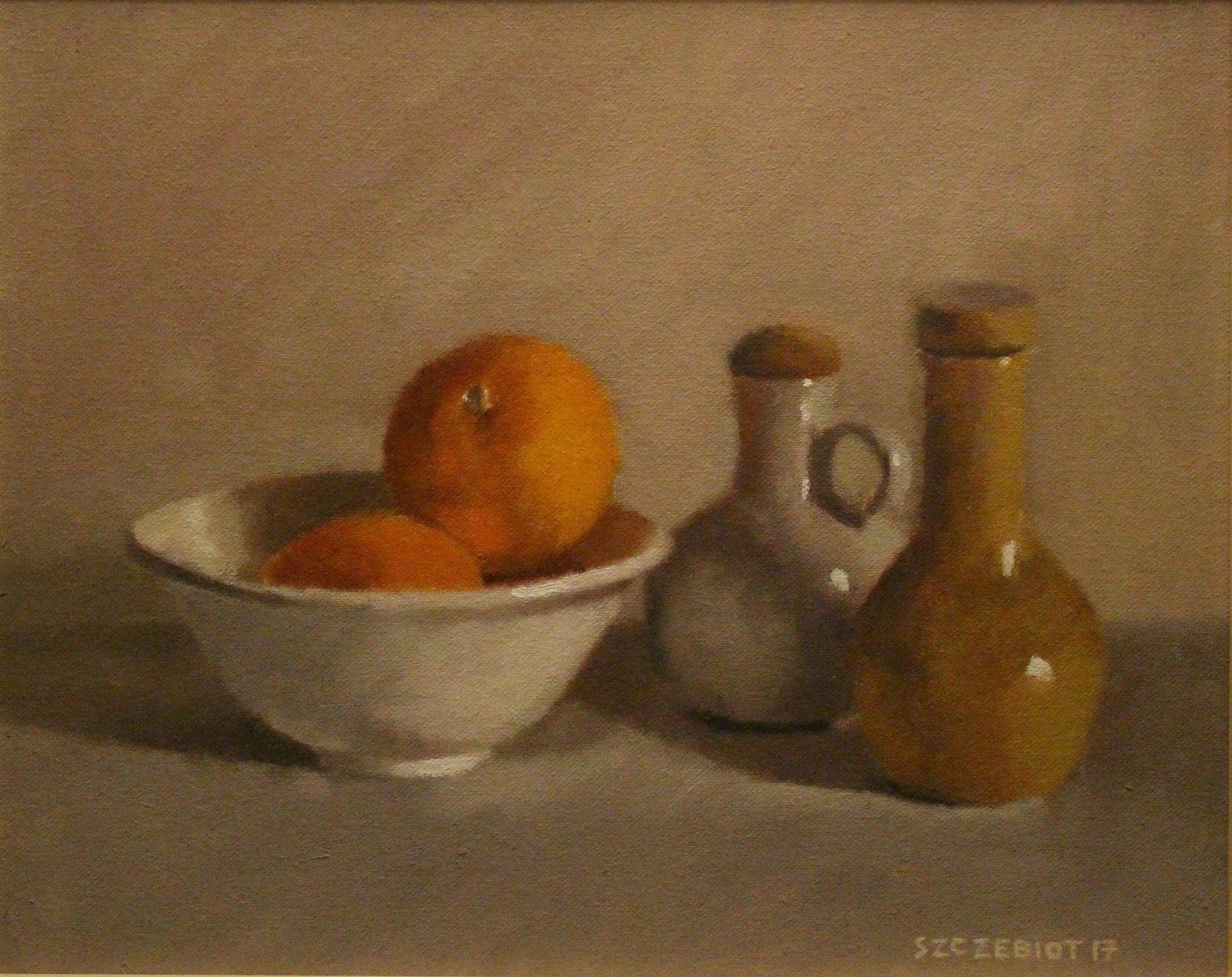 Oranges in White Bowl