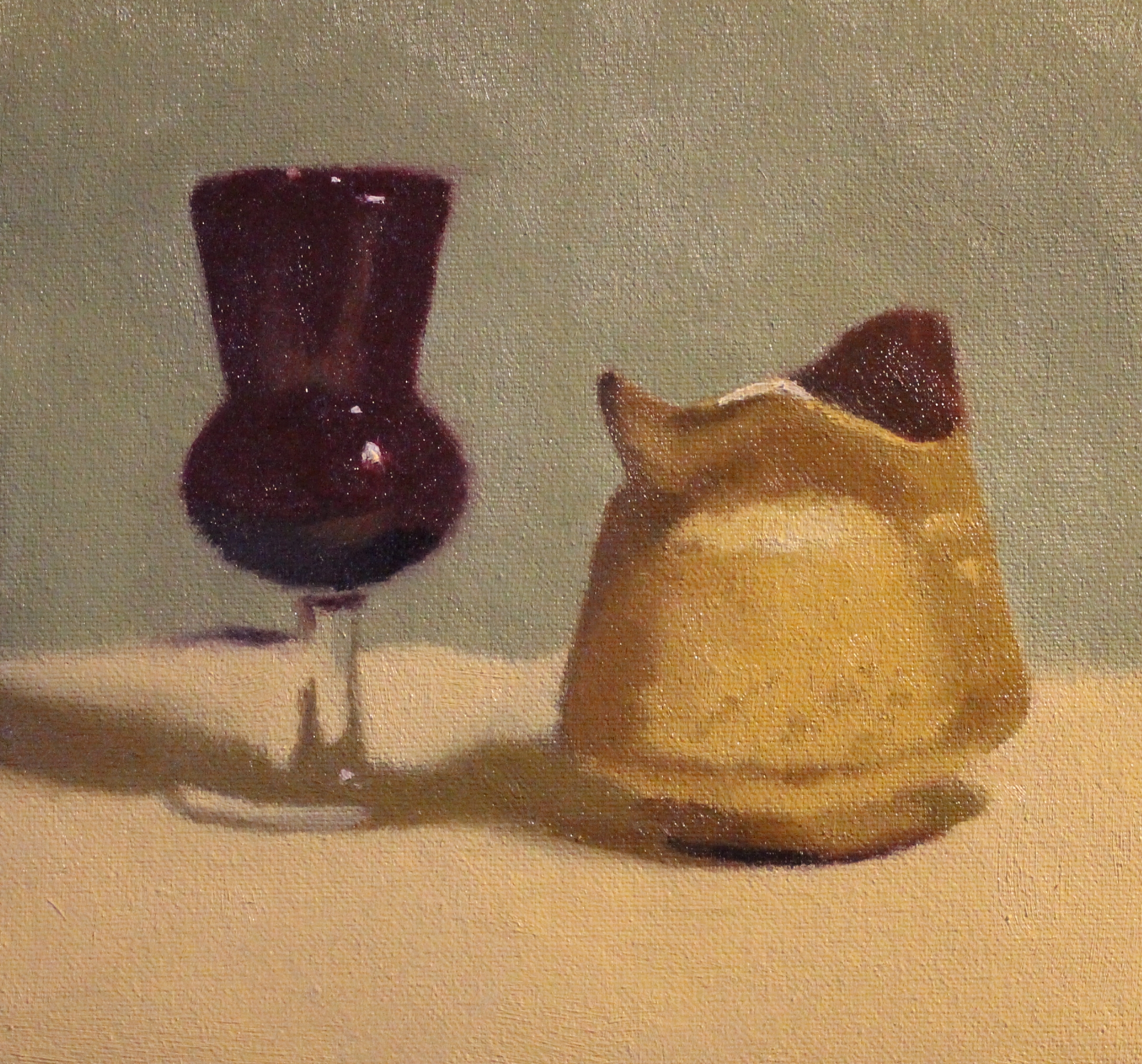 Red glass and milk jug