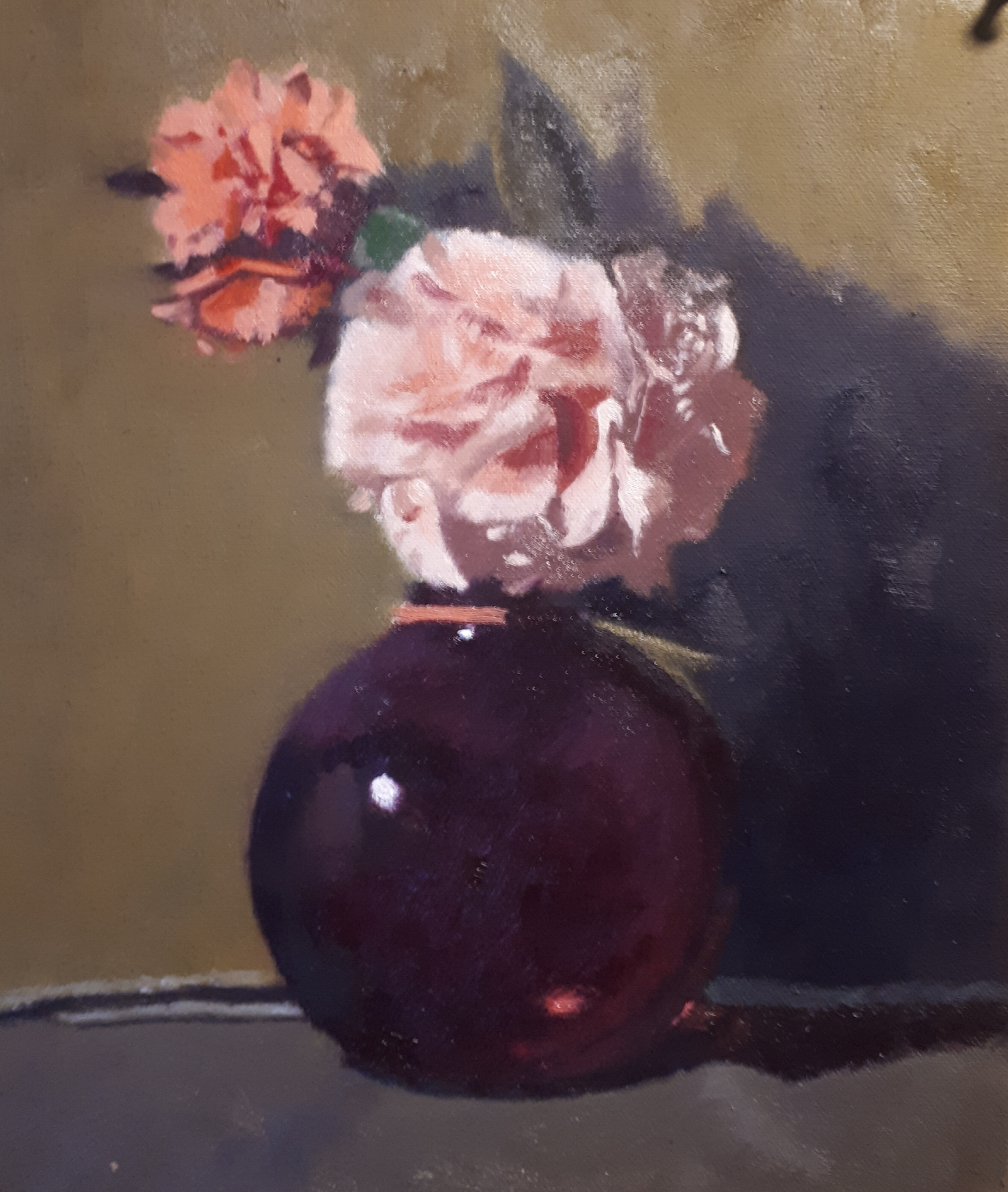 Flowers in Old Mauve Vase