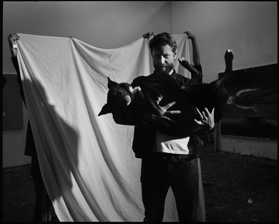 Artist Ben Quilty with his dog Betsy, 2016.