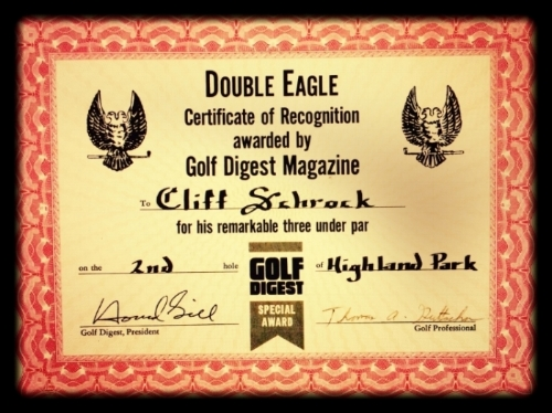 My  Double Eagle  occurred on Friday, May 30, 1980, when a scheduled round in Decatur, Illinois, was rained out in the morning and upon returning to Bloomington, the skies cleared and my group decided to play at Highland Park. On the par-5, 480-yard second hole, my driver and 3-wood shots found the hole in 2! I had turned 21 one week earlier. My witnesses were Kevin Edwards, Rick Gilbert and Howard Prevette.