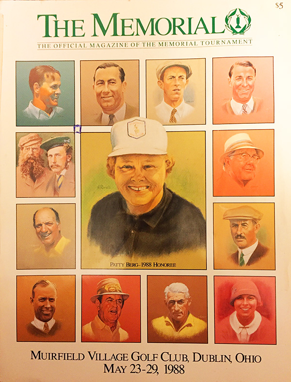 A gallery of previous honorees, illustrated by Tony Ravielli, surround honoree Patty Berg on the 1988 Memorial program cover.