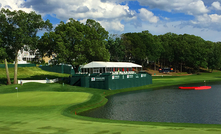 """The water-logged 17th hole with the 15th and """"15th 1/2"""" holes beyond."""