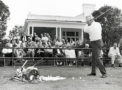 Sam Snead shows a few tips during a Greenbrier clinic.