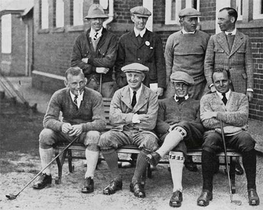 The 1921 American team; Bobby Jones, 19, is seated second from the right.