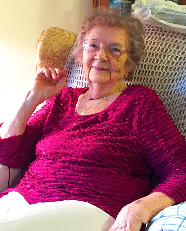 Alice Buckley relaxes at home in East Moline, Ill.