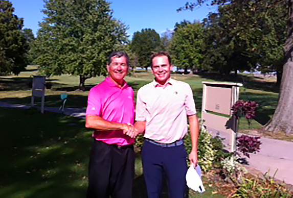 Kevin Edwards and Drew Weisenborn in the Waterloo CC club title match.