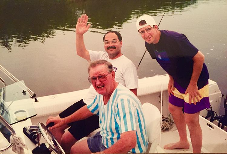 3 men on a boat: Bob Hurst, Tony and the writer motor-boatin' at Merritt Island, Fla.