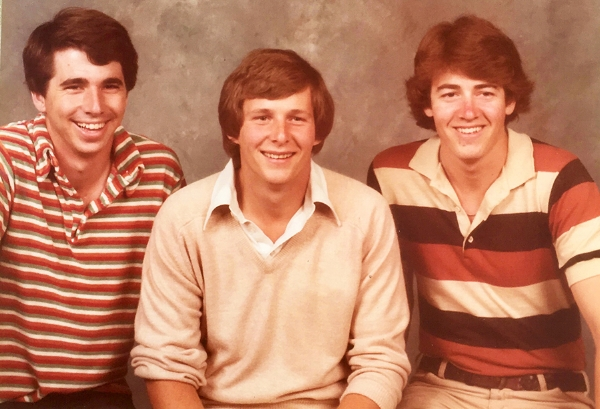 College pals in the '80s: Pete Wofford, Rick Gilbert, the author (I always liked that shirt!).