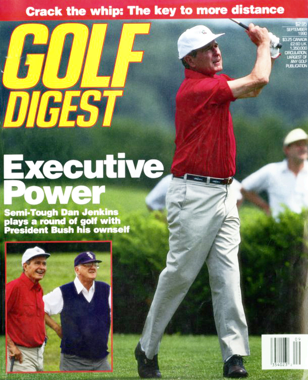 Dan Jenkins made the inset of a September 1990 Golf Digest cover with Bush No. 1.