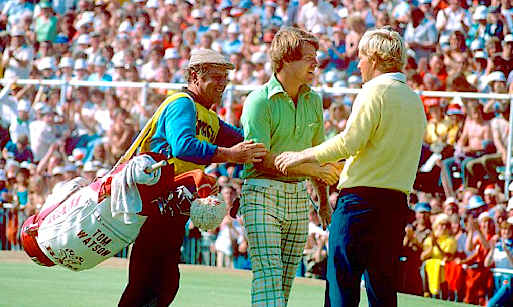 Nicklaus, in yellow, heartily congratulates Watson at the 1977 Open Championship.