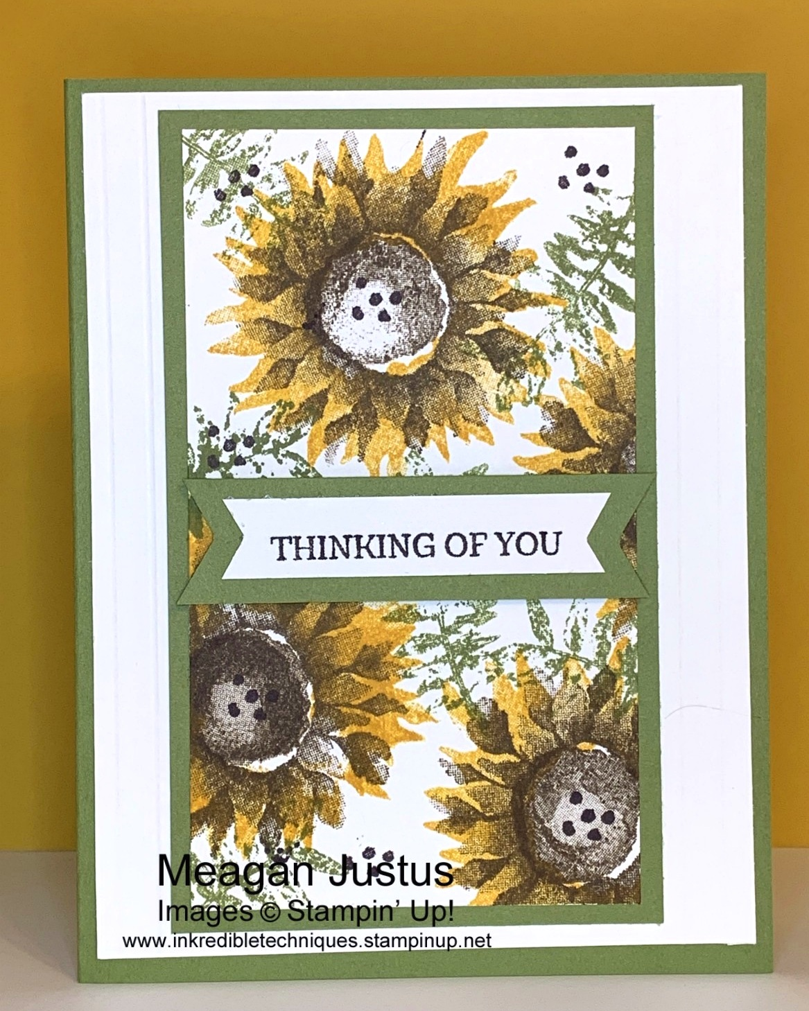 Simple Bold Sunflower Thank You Card Featuring Stampin' Up! Painted Harvest Stamp Set