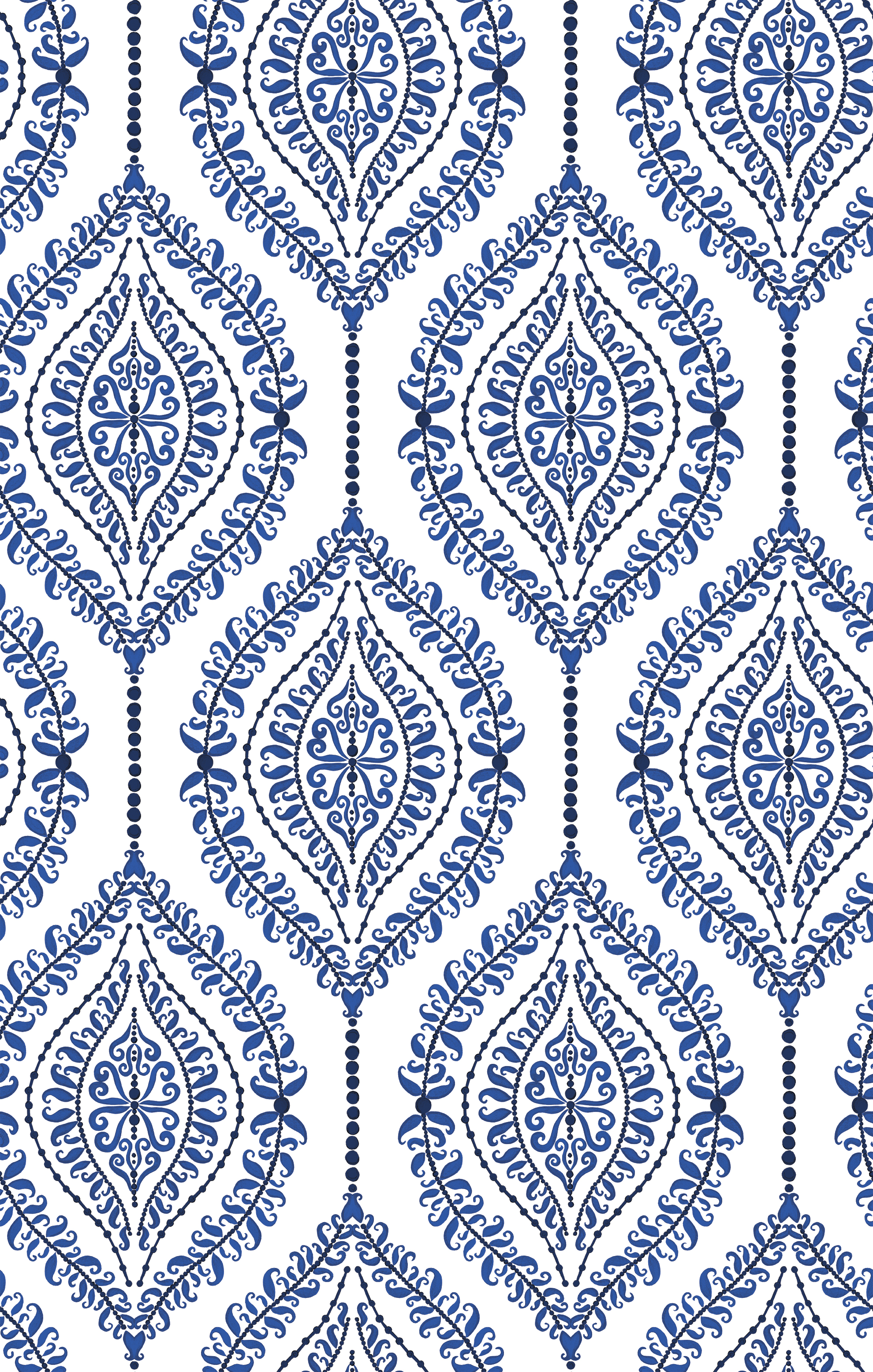 Curls & Pearls Wallpaper Blue