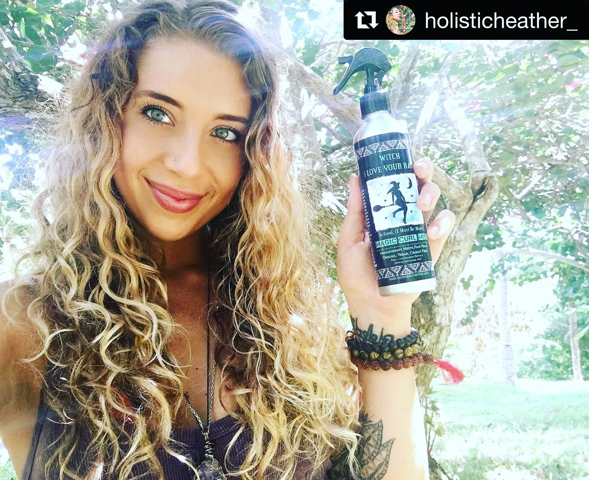 @headd @holisticheather_ - Gorgeous and inspirational beauty Heather Hoffman (@headd + @holisticheather_) took her bottle of Witch to the Brazilian Jungles and still rocked her stunning curls!! So happy to see her looking so radiant!