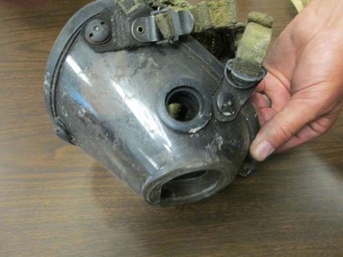 FF Kirchner's face piece with missing exhalation valve. Picture from Baltimore County internal investigation.