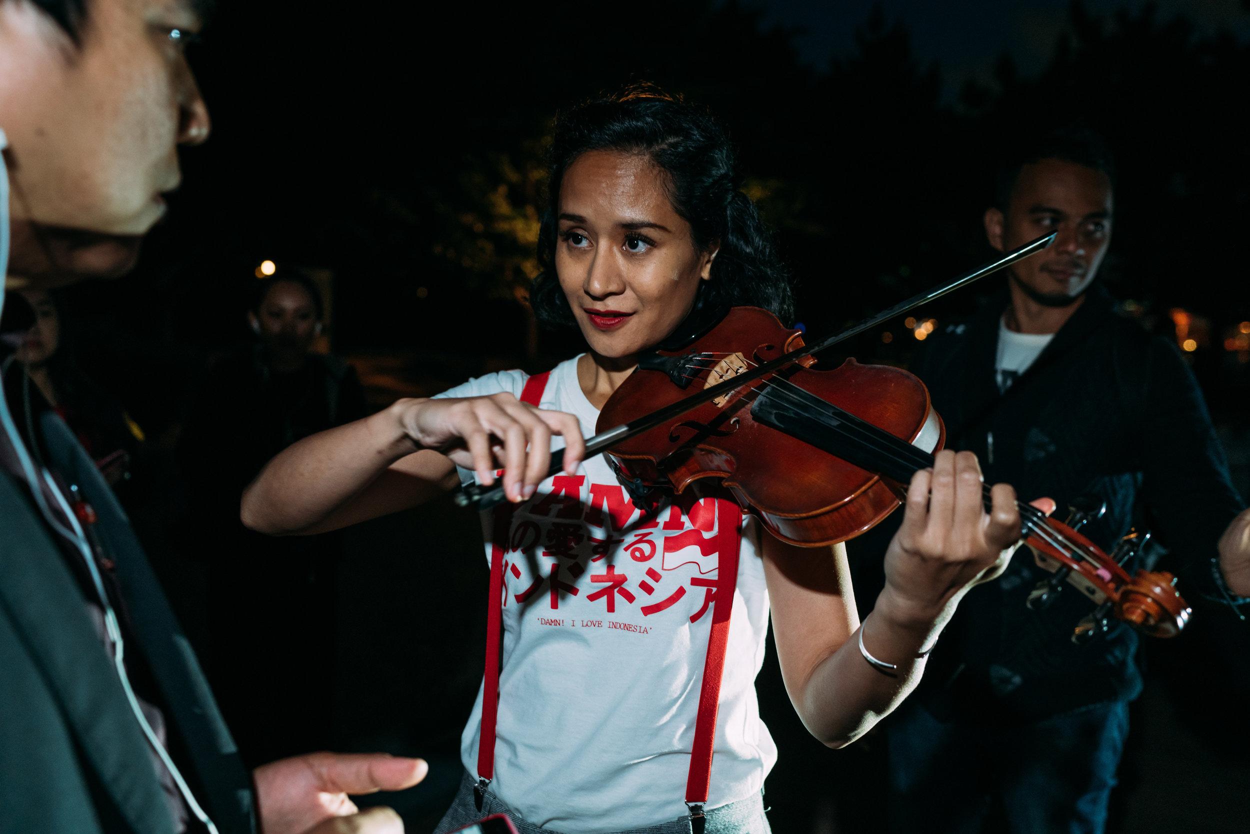 Three Indonesian anthems, Indonesia Saya, Tanah Airku, and Indonesia Pusaka was sung together led by Indonesian musician Maylaffayza playing the violin.