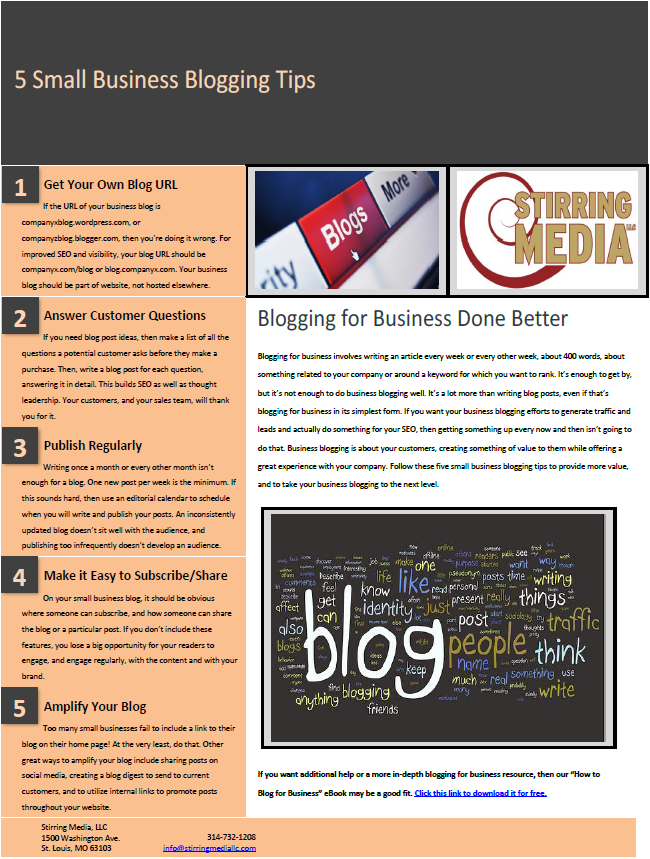 I created this tip sheet of five small business blogging tips as a middle-of-the-funnel offer. The goal of the content was to educate leads about business blogging and to showcase how this specific content marketing solution could be utilized better.
