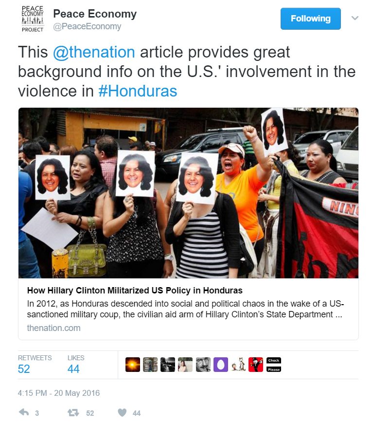 This tweet for the Peace Economy Project did incredibly well compared with PEP's other tweets. The tweet did well because of the timeliness of the topic (just weeks after Berta Caceres' death) and the use of the #Honduras hashtag. I thought the article featured provided great context to Honduras and Caceres' death.
