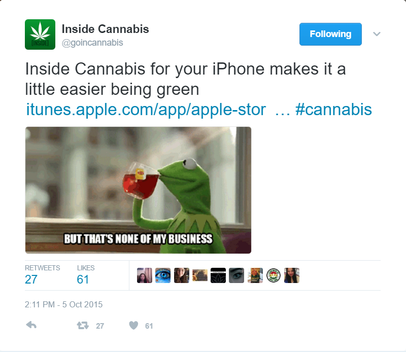 I created this tweet for the Inside Cannabis app to promote it and encourage downloads. I created similar tweets for each of Inside's vertical apps. The Inside Cannabis example was one of the more successful ones in terms of the conversion rate in the App Store and engagement on Twitter.