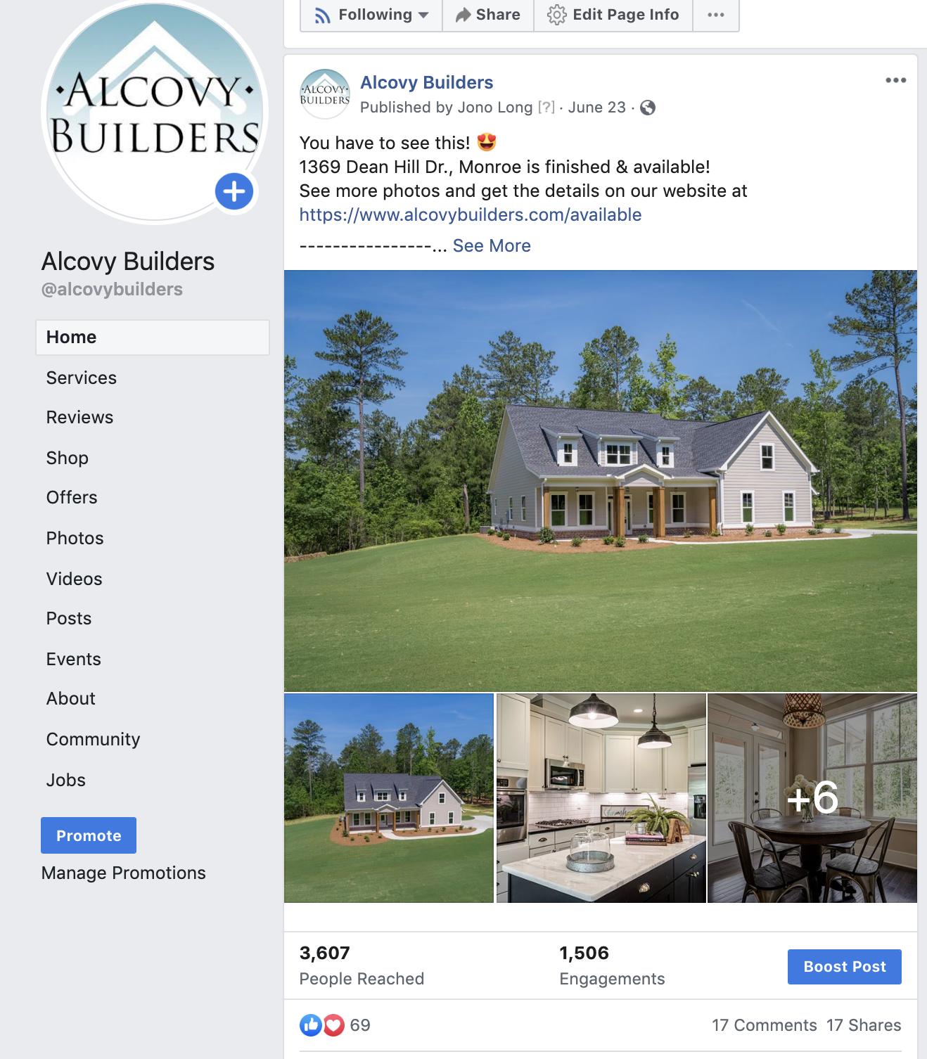 Alcovy Builders - Social Sphere Media Social Media Management - Metro Atlanta