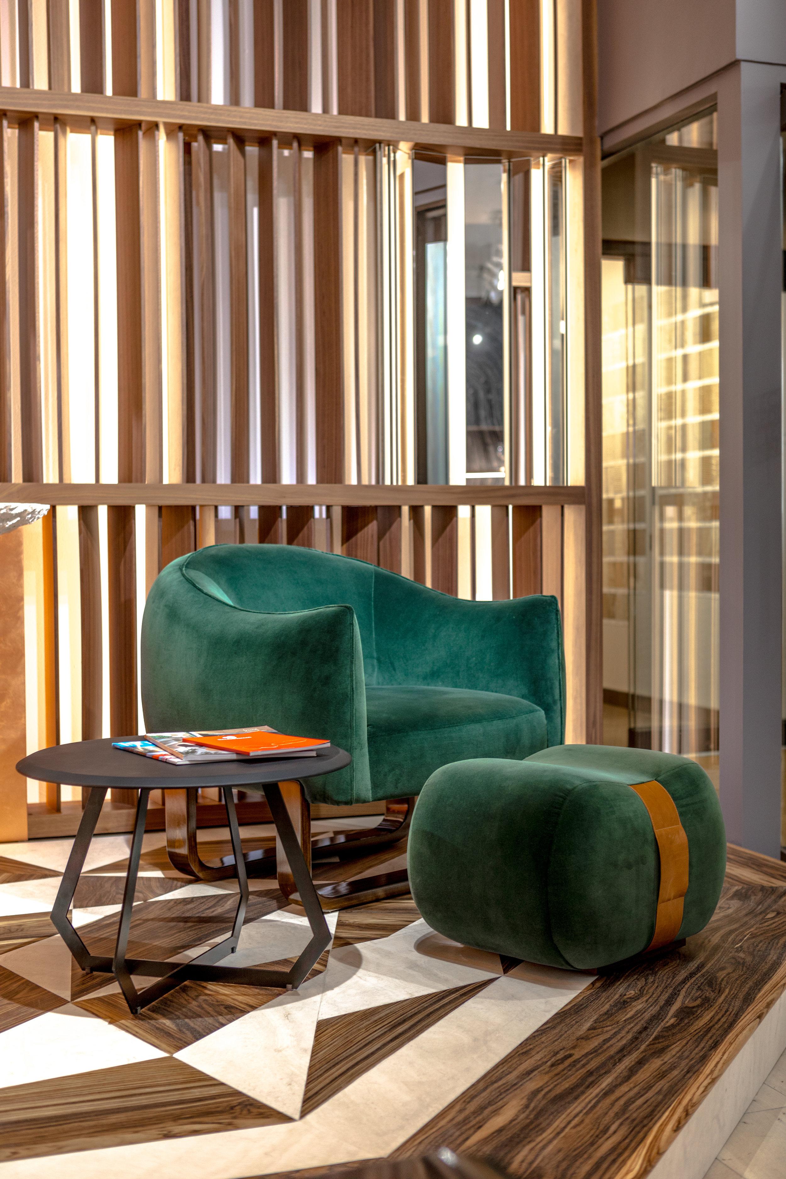 Marie-Burgos-design.MBCollection.Milo-Chair.Milo-ottoman.Fetish.table.green.Moss.fabric.GKC.showroom.D&D.jpg