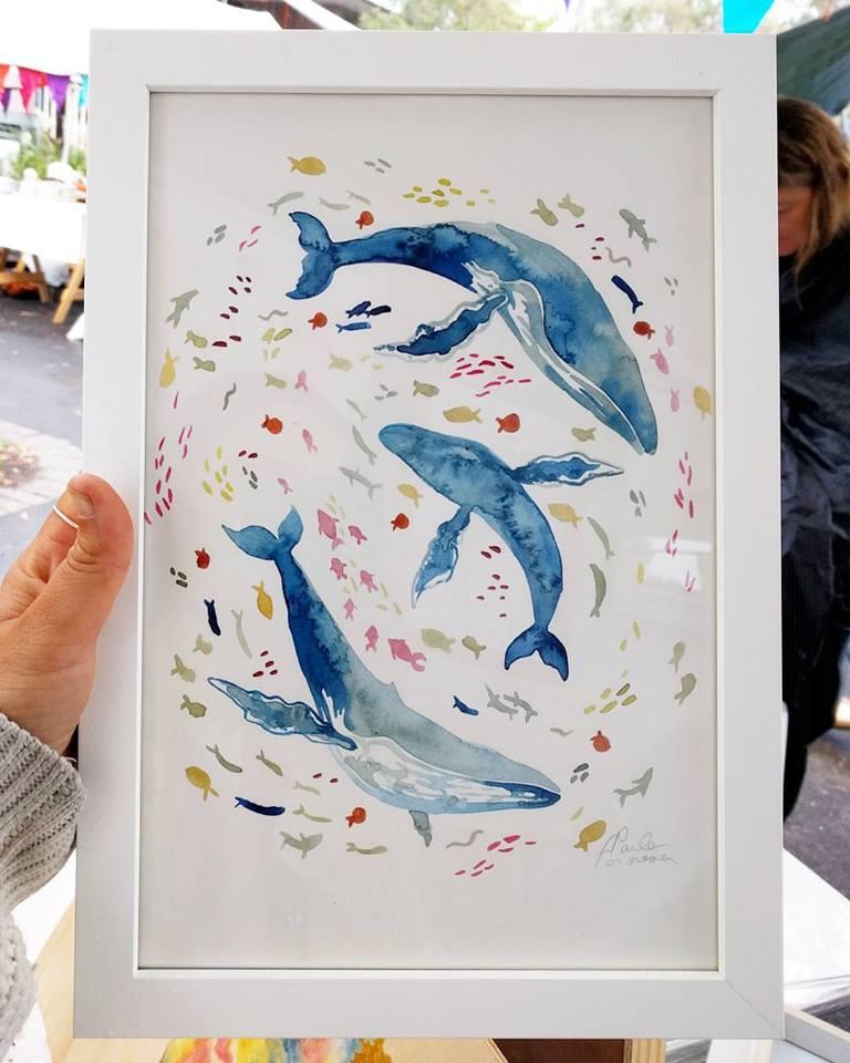 whales ocean drift watercolour painting paula formosa