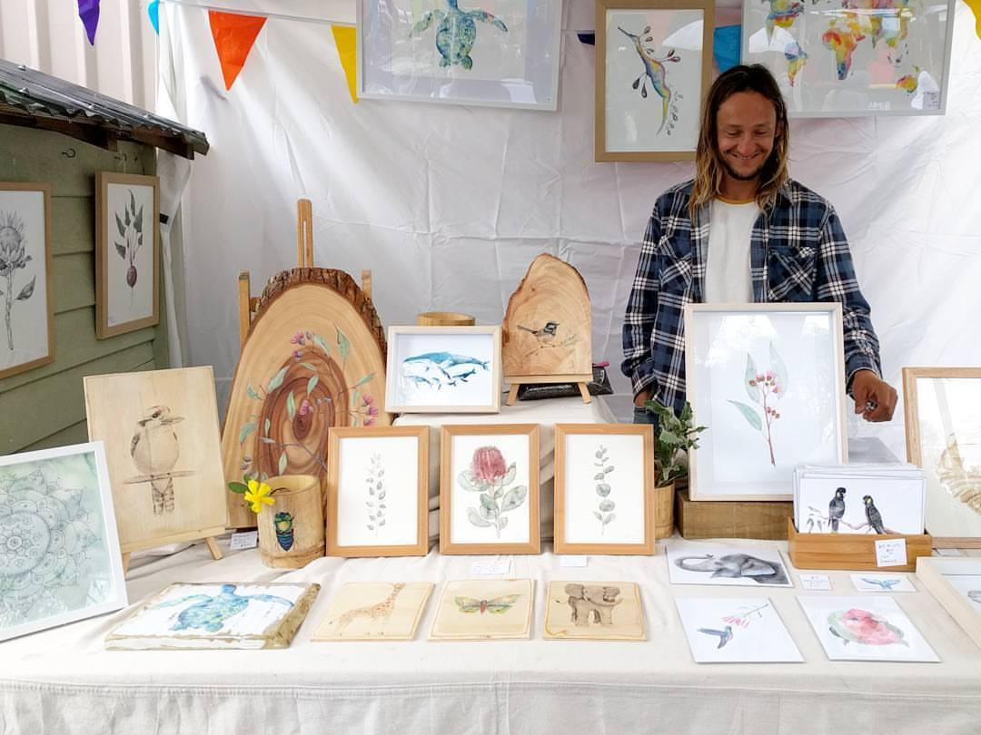Our first market selling our art & wood prints