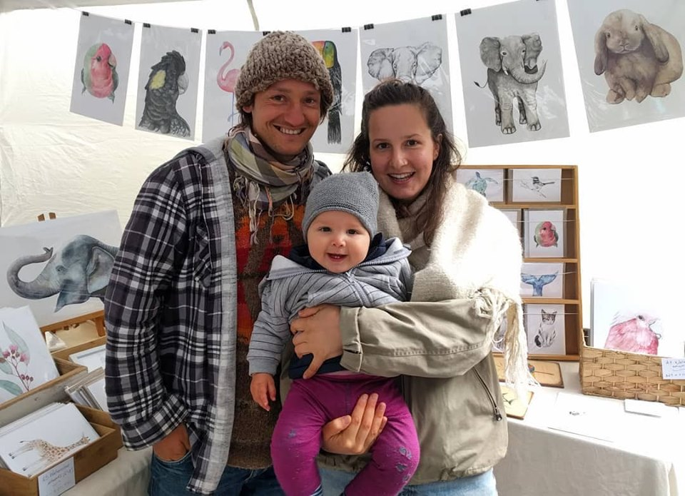 Paula, Sepp and Koa at Salamanca market