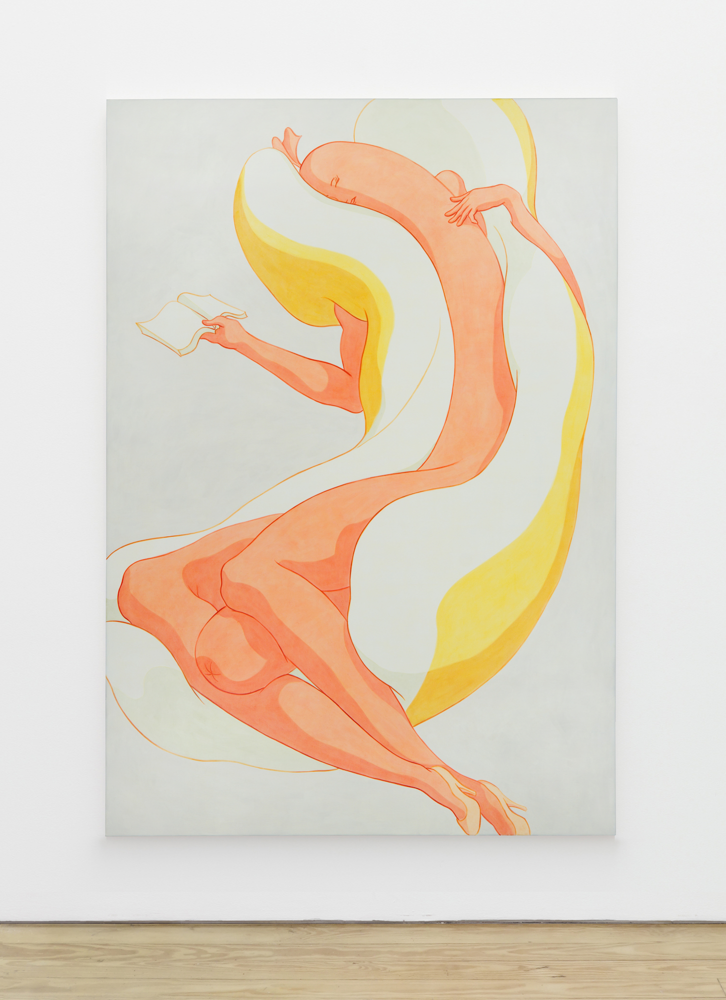 Ivy Haldeman,  Sleeping Figure, Face Turned, Fingers Touch Upper Torso, Open Book,  2018