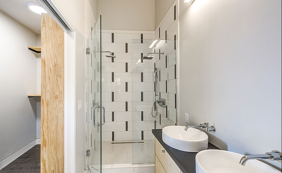 Master Bathroom with custom casework fabricated by PAPER AIRPLANE